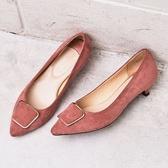 ~ORiental TRaffic ~摩登金屬方釦中跟鞋古典粉