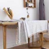 聖誕免運熱銷 餐墊餐桌布布藝 棉麻小清新歐式田園格子長方形茶幾桌布圓桌台布桌墊