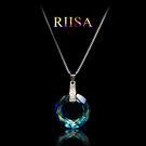 頂級施華洛世奇元素水晶繽紛夢幻極光環項鍊...