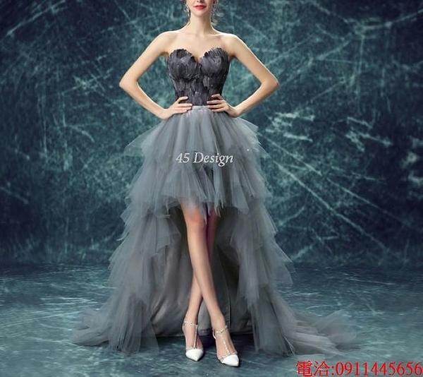 (45 Design)  7天到貨 禮服婚紗晚禮服短款晚宴年會 結婚小禮服短裙 大小顏色款式都能訂製24