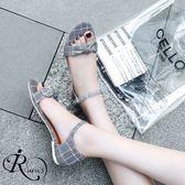 歐美時尚格紋蝴蝶結裝飾扣環平底涼鞋/4色/35-42碼(RX0326-A-311) iRurus 路絲時尚