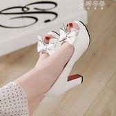 甜美大蝴蝶結粗跟高跟厚底魚嘴女士涼鞋女鞋白色黑色粉色大碼 蓓娜衣都
