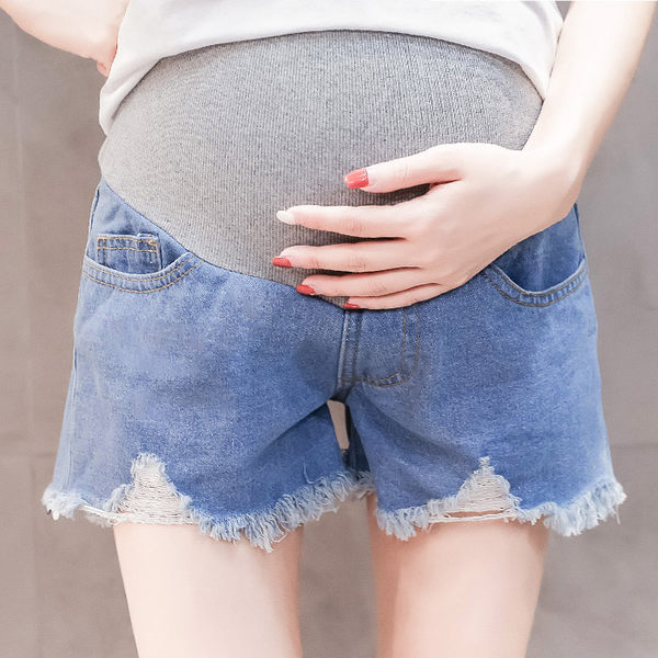 【愛天使孕婦裝】韓版(92288)棉質牛仔 破損抽鬚短褲 孕婦褲(可調腰圍)