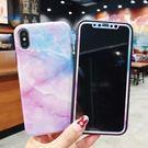【SZ13】ins風大理石紋手機保護套加鋼化膜 iphone XS MAX手機殼 iphone XS手機殼 iphone8 plus保護套  軟殼