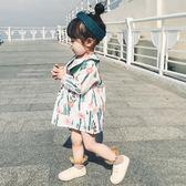 女童春款甜美風連身裙0一3歲寶寶娃娃領裙子中小童純棉印花公主裙 桃園百貨