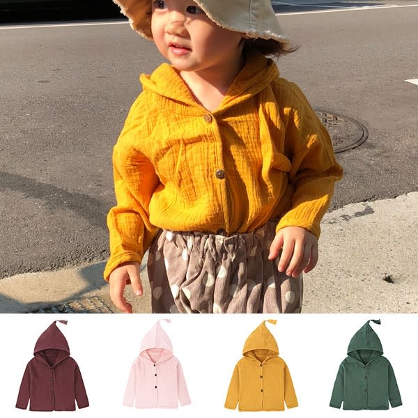 ins 森林系 流蘇 連帽 棉麻 外套 襯衫 長袖 上衣 遮陽 防曬 冷氣房 多色 女童 男童 日系 NXS