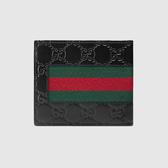 【雪曼國際精品】GUCCI Guccissima 皮革LOGO壓紋綠紅綠織帶系列八卡對折短夾(黑)─全新品現貨