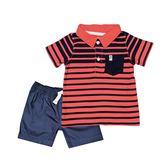 Carter s卡特 POLO杉上衣+短褲 二件組 紅條紋 | 男寶寶 | 北投之家童裝【CA249G431】