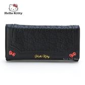 日本限定 三麗鷗 HELLO KITTY 凱蒂貓 滿版壓紋蝴蝶結 長夾錢包