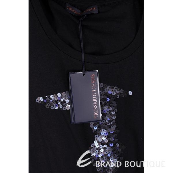 TRUSSARDI 黑色亮片LOGO棉質短袖T恤 1620448-01