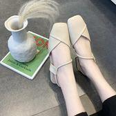 涼鞋女夏方頭時尚低跟一字帶包頭粗跟女鞋百搭兩穿學生鞋【東京衣秀】