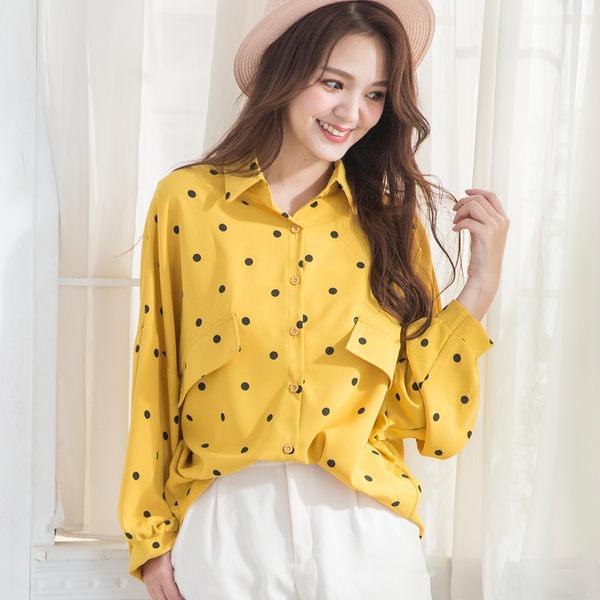 雪紡波點復古設計感襯衫(4色)