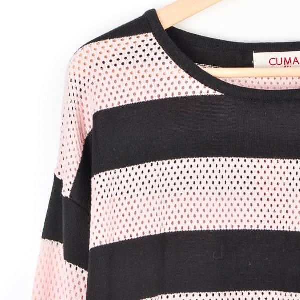 【CUMAR】縷空針織條紋上衣