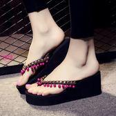 YoYo 坡跟外穿夾腳涼鞋女 3/7公分厚底人字拖 沙灘拖鞋 海邊涼拖鞋女(6色)【J1035】