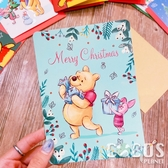 正版 迪士尼 小熊維尼 小豬 跳跳虎 聖誕節卡片 耶誕卡片 大卡片 附信封 G款 COCOS XX001