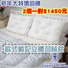 一對2個大特價1450元【凱盛寢具傢飾精品生活館】台灣製造-歐式戴妃枕立體空間-羽絲絨枕