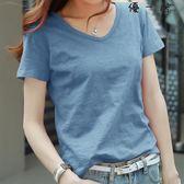 t恤女半袖純色V領寬鬆短袖上衣