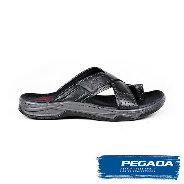 【PEGADA】巴西名品真皮休閒涼拖鞋  黑色(132205-BL)