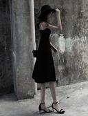小禮服 赫本小黑裙新款女夏季短款晚禮服內搭打底a字黑色吊帶連身裙 JD計書 618搶購