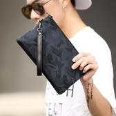 迷彩防水手拿包韓版時尚男士新款手包休閒街頭手機包潮流男包 免運