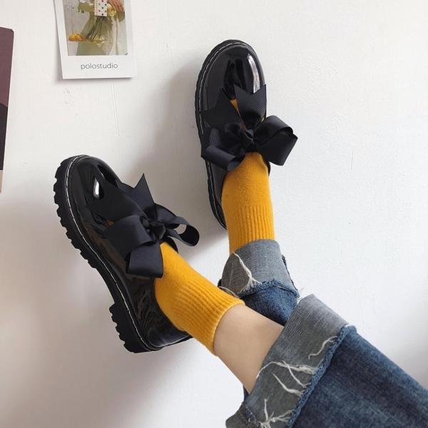 日系學院風小皮鞋女圓頭洛麗塔鏤空蝴蝶結軟妹子女鞋學生平底單鞋