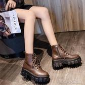 短靴馬丁靴女增高小個子秋冬新款厚底英倫網紅百搭短靴鬆糕機車靴易家樂小鋪