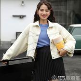 牛仔外套 時尚牛仔外套女韓版原宿寬鬆bf多口袋夾克短款上衣 歌莉婭