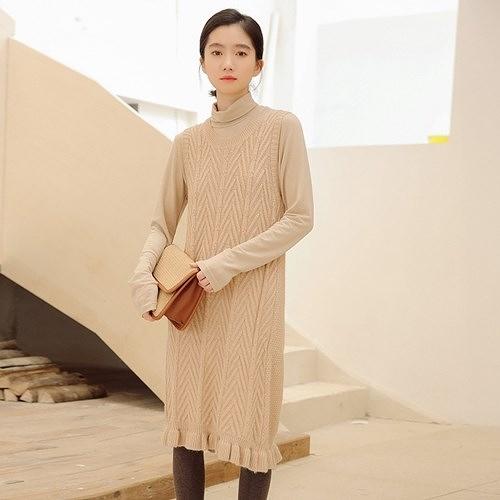 無袖洋裝-純色木耳邊百搭針織連身裙2色73xm42[時尚巴黎]