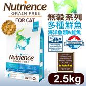 [寵樂子]《美國紐崔斯天然寵糧》無穀養生系列貓糧(多種魚)2.5kg/貓飼料