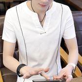 男士短袖t恤韓版潮流V領男裝上衣服夏季新款青年個性 HH3493【極致男人】