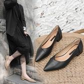 百搭瓢鞋女新款黑色皮鞋女上班工作鞋職業平底小跟單鞋女3cm 雙12全館免運