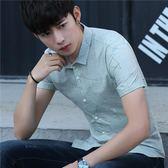 男短袖襯衫 韓版男裝上衣 翻領男夏新款男士修身青少年襯衣學生休閒印花襯衫cs196