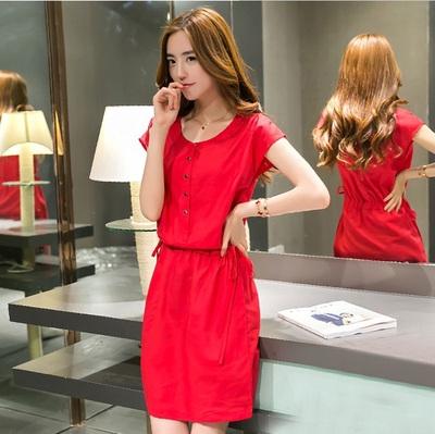 2021夏季女裝棉麻洋裝新款韓版中長款修身顯瘦亞麻繫帶短袖裙子 母親節特惠