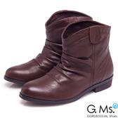G.Ms. *品味流行-牛皮抓皺V口低跟短靴*自信咖