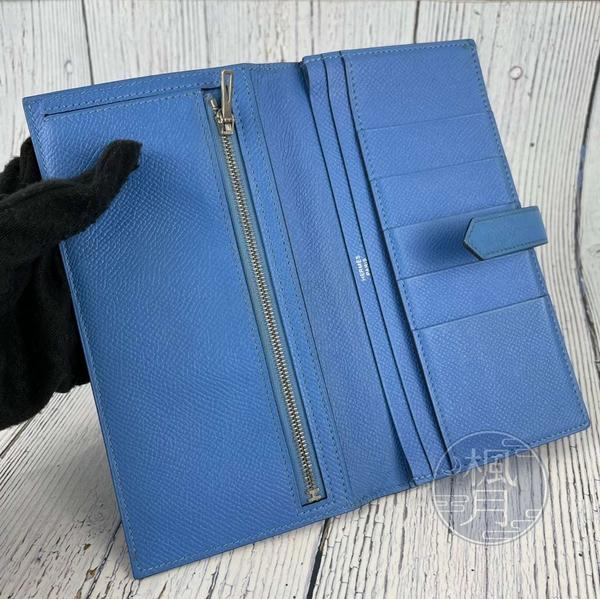 BRAND楓月 HERMES 愛馬仕  T刻 天藍 BEARN長夾 牛皮銀H 穿式長夾 零錢包 零錢袋