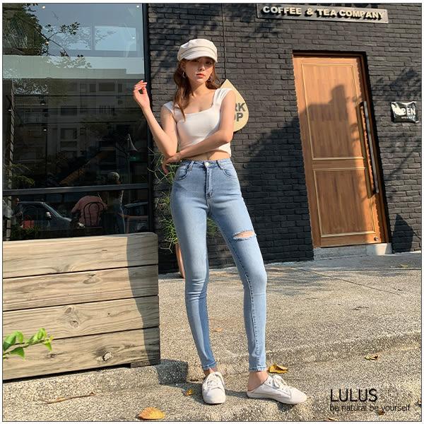 LULUS-現貨/P大腿割破牛仔長褲25-29-藍【04011353】