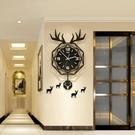北歐鹿頭掛墻鐘錶掛鐘客廳現代簡約創意輕奢網紅錶時尚家用時鐘  【端午節特惠】