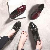 鞋子女新款韓版百搭平底瓢鞋英倫風一腳蹬小皮鞋樂福鞋女單鞋【販衣小築】