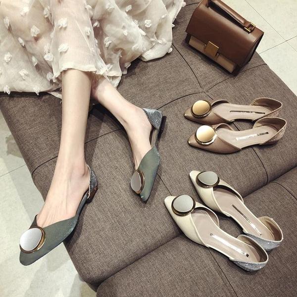 快速出貨 單鞋女 款時尚尖頭平底鞋韓版百搭淺口瓢鞋