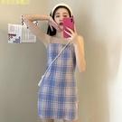 可甜可鹽洋裝2020新款緊身格子吊帶裙復...