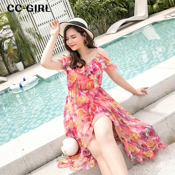 中大尺碼 雪紡波西米亞風挖肩沙灘裙洋裝~共三款 - 適XL~4L《 64919A 》CC-GIRL