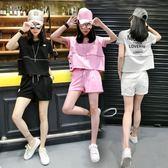 跑步服夏季新款休閒時尚套裝女寬鬆顯瘦韓版短袖短褲運動服兩件套潮