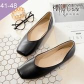 大尺碼女鞋-凱莉密碼-復古深口方頭素面簡約百搭平底鞋1cm(41-48)【HB275】黑色