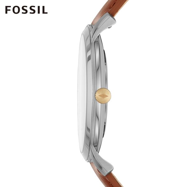 FOSSIL MINIMALIST 咖啡色皮革極簡風格手錶 男 FS5499