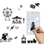 全館83折 手賬手抄報模板套裝鏤空花邊工具文具多功能套尺直尺小報小學生用繪畫邊框