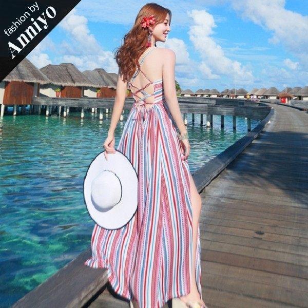 Anniyo安妞‧波西米亞細肩帶性感大露背綁帶顯瘦條紋棉麻雪紡海邊度假長裙沙灘裙長洋裝 紅藍條紋