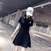 短袖洋裝 小雛菊刺繡polo領夏季連身裙女收腰顯瘦短袖長袖t恤休閒a字運動裙  新品