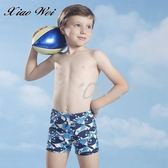 ☆小薇的店☆泳之美品牌【滿版鯊魚圖騰】小男三分泳褲特價350元NO.6055(S-2L)