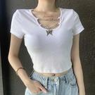 鏤空上衣 錬條拼接鏤空v領白色T恤女針織螺紋小性感修身上衣短袖-Ballet朵朵