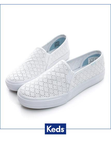 Keds 粉嫩玩色系列 鑽石雕花 休閒便鞋-白